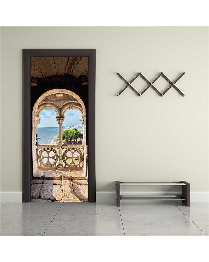 3D Ancient View Waterproof Door Stickers