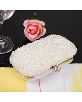 Elegant Pearl and Crystal Party Women Clutches