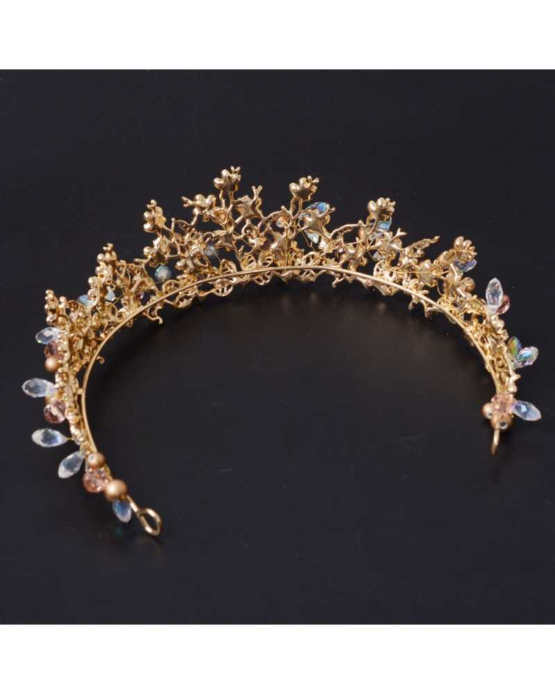 Golden  Flower with Pearl Tiara / Crown