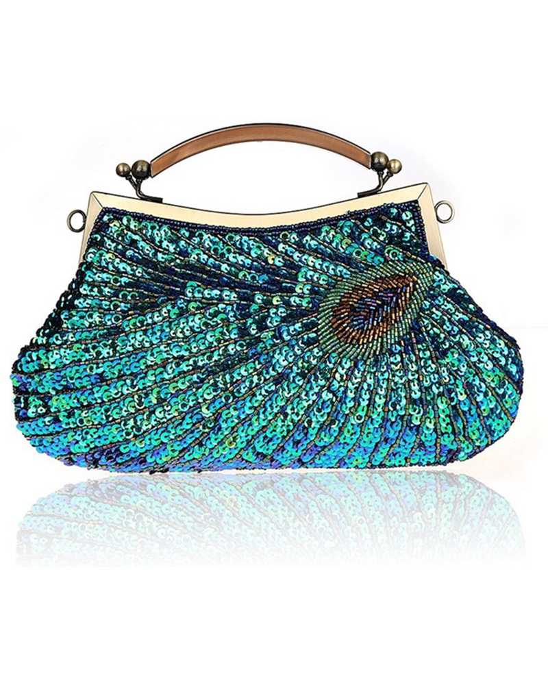 Peacock Sequin Women Clutches