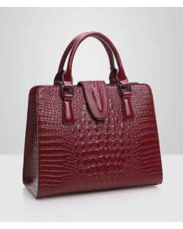Genuine Leather Crocodile Pattern Women Handbag